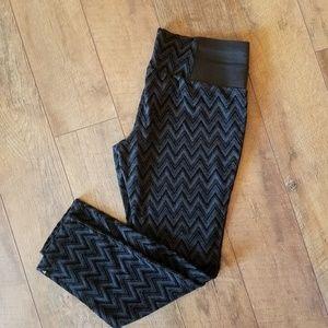 Black Stretchy Patterned Pants